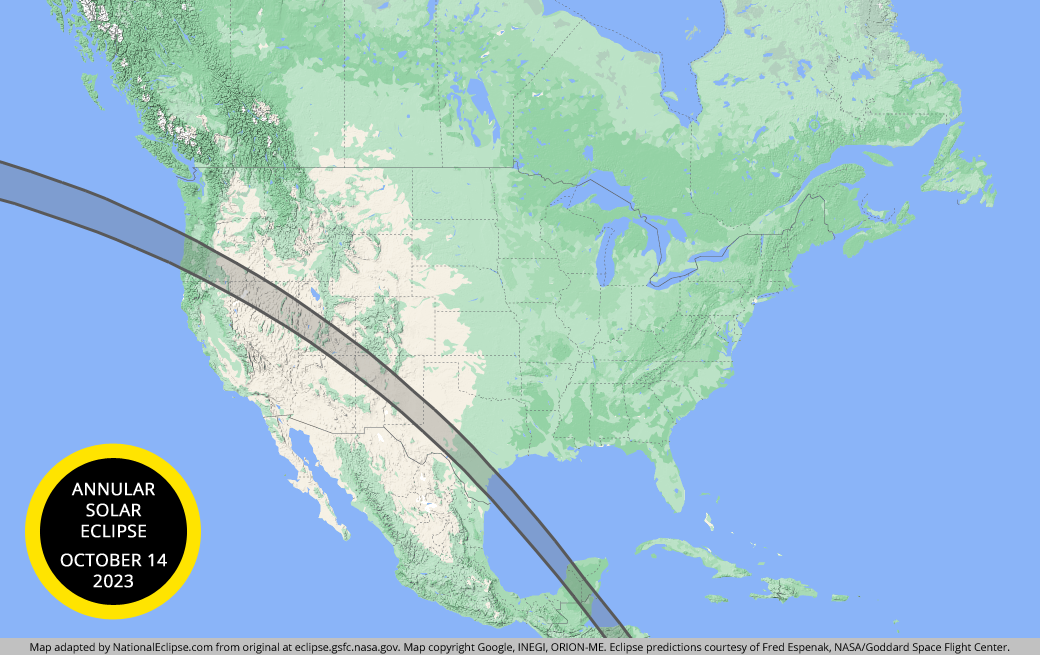 solar eclipse map california National Eclipse Eclipse Maps October 14 2023 Annular Solar