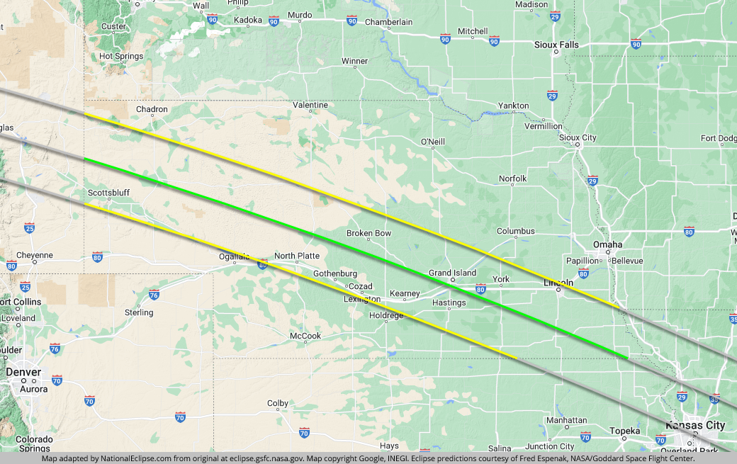 Total Solar Eclipse - August 21, 2017 - Nebraska Map