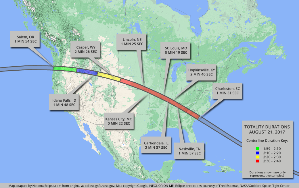 Total Solar Eclipse - August 21, 2017 - USA Map