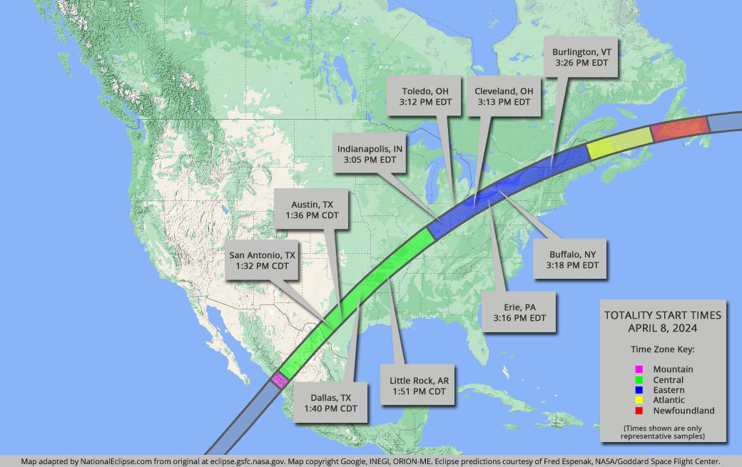 2017 Eclipse Usa Map.National Eclipse Eclipse Maps April 8 2024 Total Solar Eclipse